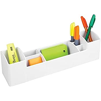 mDesign Office Supplies Desk Organizer for Scissors, Pens, Markers, Highlighters, Tape - 8 Compartments, White