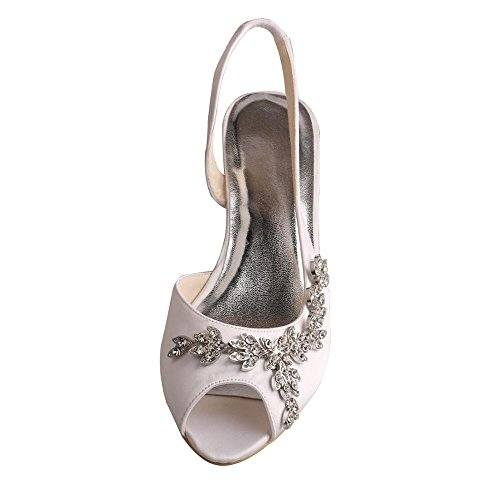 Wedopus Mw368 Des Femmes De Talon Compensé À Bout Ouvert Chaussures De Mariée Mariage Appliques Satin Sandales Blanches
