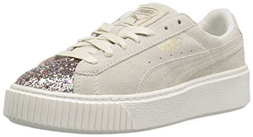 PUMA Women's Suede Platform Crushed Gem, Marshmallow-Metallic Gold, 8.5 M - Platforms Suede Metallic