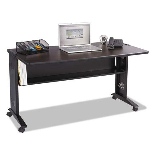 - Mobile Computer Desk W/Reversible Top, 53.5 x 28 x 30, Mahogany/Medium