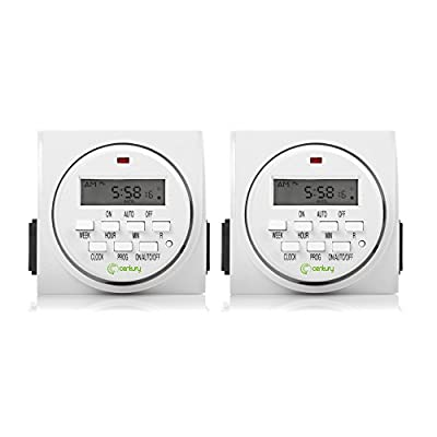 Century 2 Pack FD60-U6 Indoor Digital Timer, White