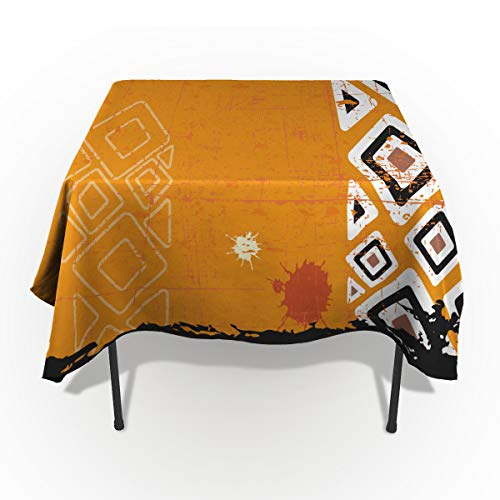 - Tribal Tablecloths for Rectangle 60 x 84-inch Table Cover, Cotton Linen Fabric Table Cloth for Dining Room Kitchen, Ethnic African Design with Bold Lines Geometric Triangles Artwork,
