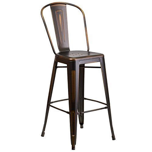 - Flash Furniture 30'' High Distressed Copper Metal Indoor-Outdoor Barstool with Back