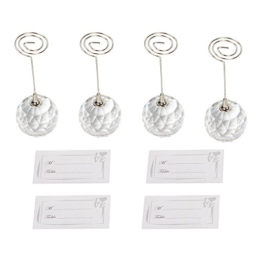 senover 4pcs Crystal Ball Shaped Table Number Holder Name Place Card Holder Memo Clip Holder Stand Note Holder Pictures Card Paper Menu Clip(4pcs White Place Cards Included) (Ball Memo Holder)
