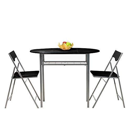 Homy Casa Mesa de Alas Abatibles Plegable Rectangular de Cocina y Comedor, Juego de mesa negro