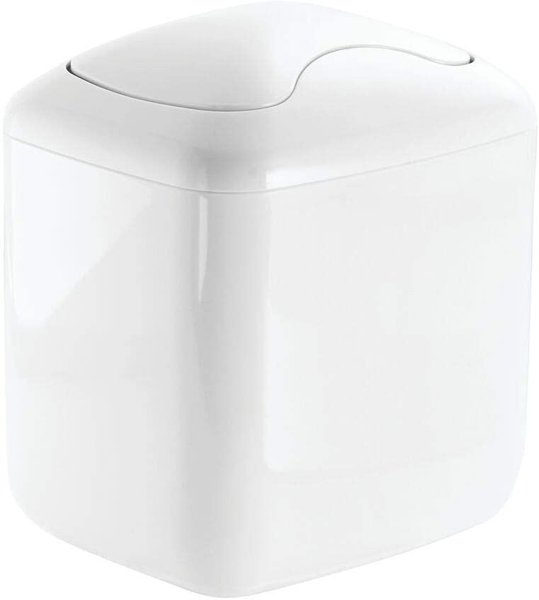 mDesign Modern Plastic Square Mini Wastebasket Trash Can Dispenser with Swing Lid for Nursery Changing Table, Countertop, Tabletop - Dispose of Wipes, Tissues, Cotton Swabs