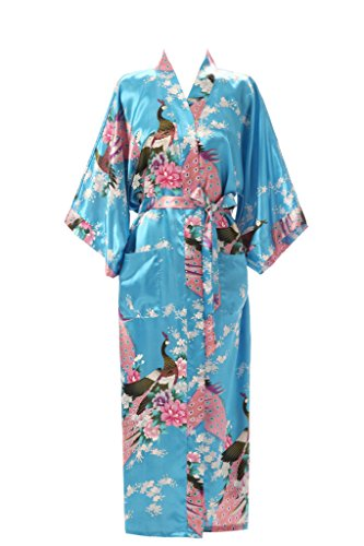 J.ROBE Women's Kimono Robe Long Printed Lotus Kimono Robe Silk with Pockets ()