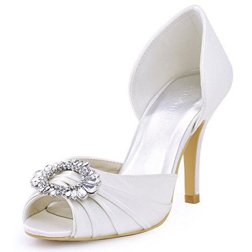 ElegantPark Women's Pumps Brooch Peep Toe High Heels Pleated Satin Wedding Party Dress Court Shoes Ivory OjnzDCwcB