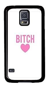 Diy Fashion Case for Samsung Galaxy S5,Black Plastic Case Shell for Samsung Galaxy S5 i9600 with BITCH