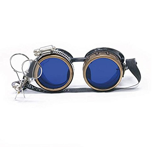 Steampunk Victorian Style Goggles with Compass Design and Azure Blue Lenses umbrellalaboratory gcg