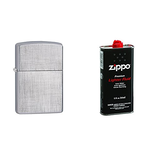 Zippo Linen Weave Pocket Lighter w/12 oz. Lighter Fluid