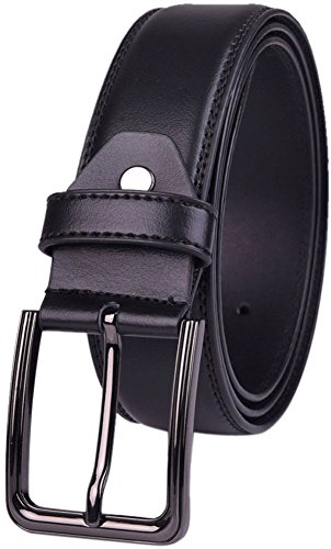 Belts for Men Dress Leather Belt for Business and Casual Clothing Single Prong Buckle with Gift (Business Casual Belt)