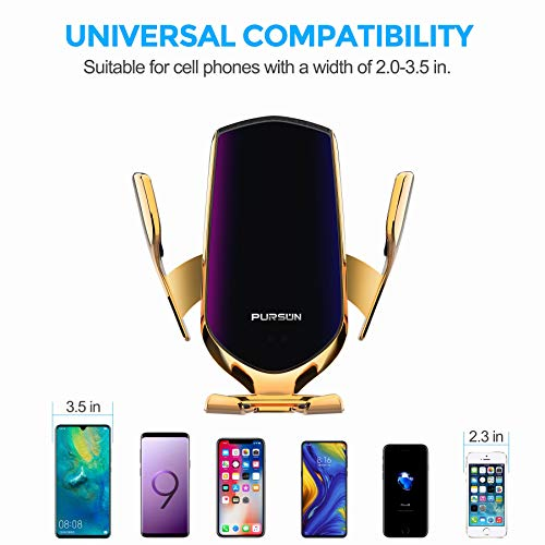 2020 Updated Universal Cell Phone Holder for Car, Hands-Free One Touch Automatic Clamp Phone Mount, Air Vent Cell Phone Mount for iPhone, Samsung, Google Pixel, Moto, Nokia, and More