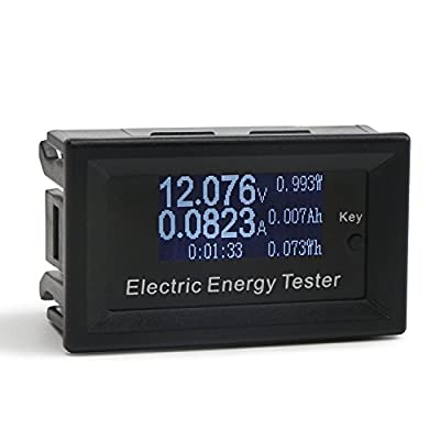 DROK Digital Multimeter LCD Display Voltmeter Ammeter DC 0-100V 0-15A Voltage Ampere Meter Electric Energy Power Time Multi-fuction Meter Battery Capacity Monitor Tester with Micro USB Powering Port