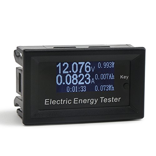 DROK Digital Multimeter LCD Display Voltmeter Ammeter DC 0-100V 0-15A Voltage Ampere Meter Electric Energy Power Time Multi-fuction Meter Battery Capacity Monitor Tester with Micro USB Powering Port Dc Micro Ammeter