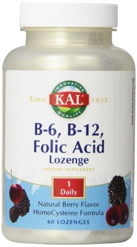 KAL B-6, B-12 Folic Acid Lozenge, 50 mg/400 mcg/400 mcg, 60 Count by Kal (Mcg 50 Lozenges)