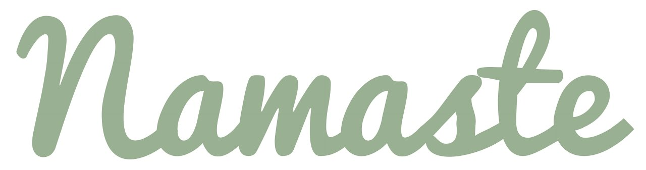 Namaste Distressed & Painted Cutout Vintage Wall Monogram Home Decor (Aluminum), (Sage Green), (7 Inch Tall)