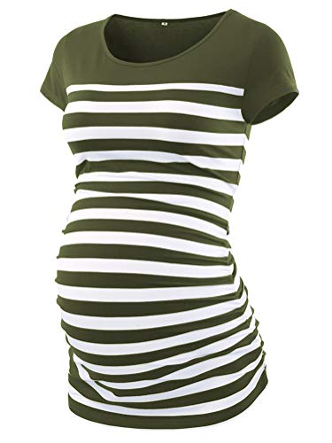 (CareGabi Maternity Top Women's Short Sleeve Round Neck Striped Shirts Army Green)