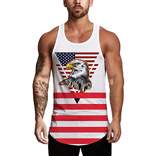 - Pongfunsy Men's Tank Top, Mens Cotton Scoop Neck Sleeveless Workout Vest American Flag Printed Striped Muscle Shirts (M, White 1)