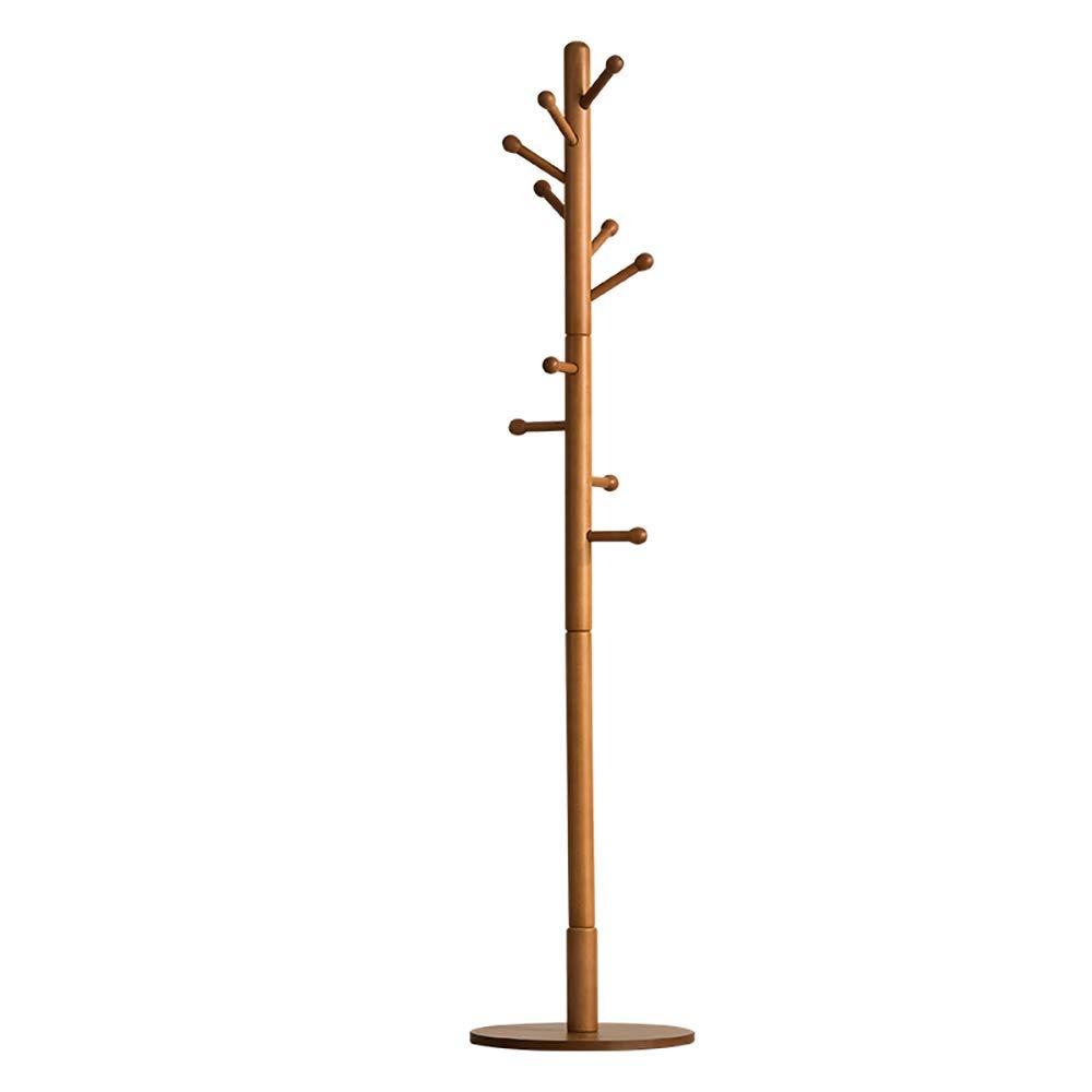 Wood color Simple Floor Coat Rack Single-Pole Multi-Function Door Rack Living Room Bedroom Hanger D15.74H70.86 Inches