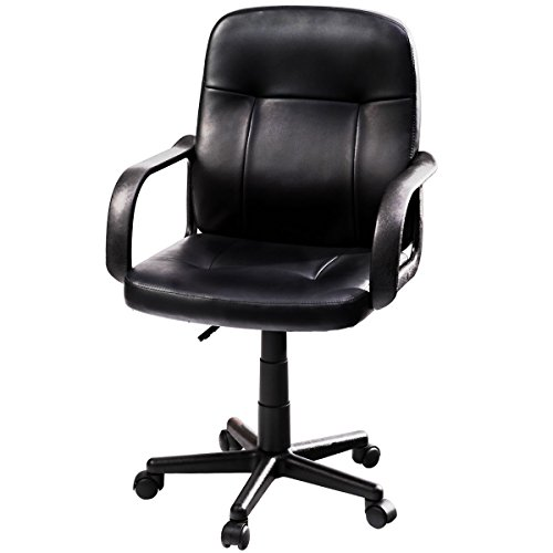 Giantex Computer Desk Office Chair Leather Mid-Back Ergonomic Upholstered Fully Adjustable Height W/ Wheels Arms Home Commercial Task Professional Swivel Office Desk Executive Chair Black by Giantex