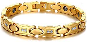 Titanium CZ Thin Magnetic Therapy Bracelet for Women Lady Gift,Gold Plated,Adjustable