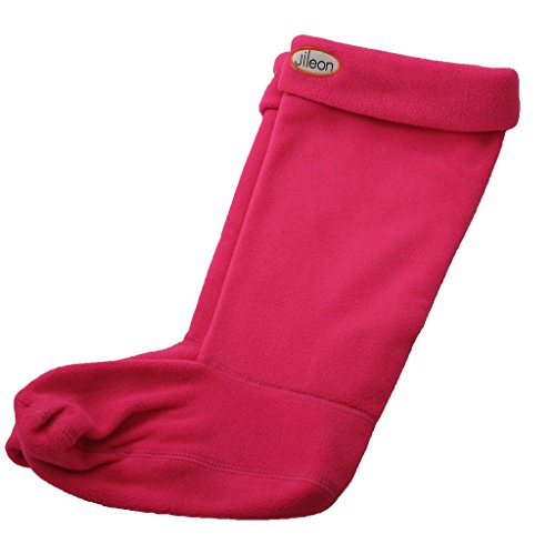 Jileon Women and Men Warm, Cozy & Soft Winter Pink Fleece Rainboots Liners-Large