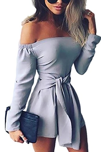 Women Hot Long Sleeve Off Shoulder Boat Neck Tube Tunic Jumpsuit Shorts Gray S