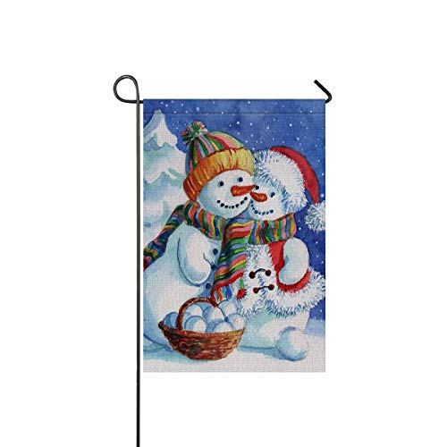 InterestPrint Snowmen Couple with Snow Forest Christmas Theme Garden Flag Home House Banner Decorative Flags Best for Party Yard Home Outdoor Decor 12