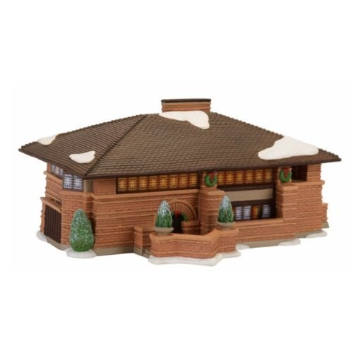 Department 56 Christmas in the City Frank Lloyd Wright Heurtley Lit House Village Building, Multicolor
