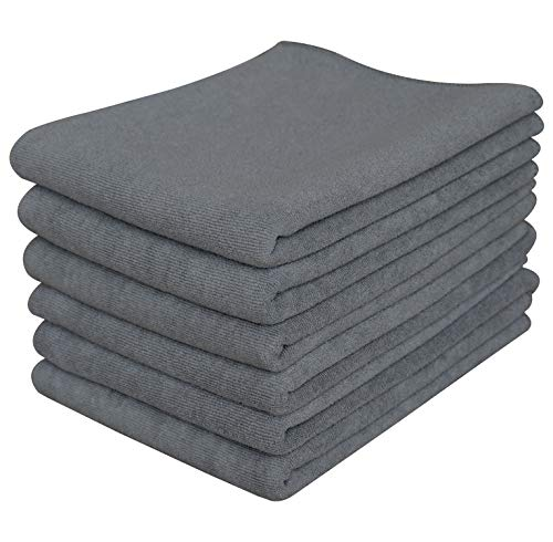 Gryeer Microfiber Kitchen Towels - Highly Absorbent, Soft and Lint Free Dish Towels, 26x17 Inch, Pack of 6, Gray