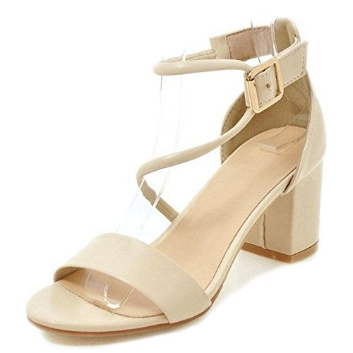 SJJH Fashion Sandals with Cross Straps and Chunky Heel and Ankle Buckles Women Large Size Sandals Beige I4Y5qvZOS