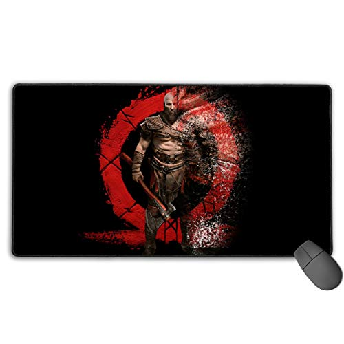 Price comparison product image Kratos GOD_of WAR Extended XXL Size Desktop Mat Anti-Slip Water-Resistant Rubber Base Game Mouse Pad for PC 15.7 X 29.5 Inches for Office School