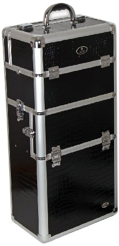 SHANY Jet Black Professional Rolling Makeup Case Premium Collection, Slim Design, 12 Pounds