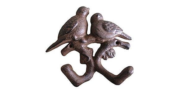 Comfy hora hierro fundido doble pájaros doble para colgar ...