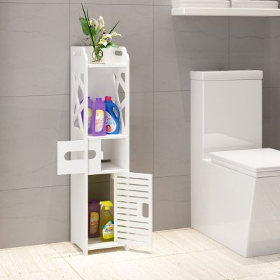DL furniture - Bathroom Storage Shelf Drawer Multi Compartment Organizer, Water Proof, Anti Decay, Anti Rot, Environmental Friendly | White