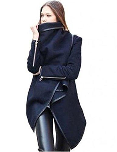 Fanessy Dames De La Mode Irrgulire Mince Long Manteau Chaud, Veste Coupe Vent Parka Tranche Blousons Bleu