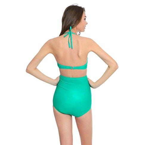 Mujer Color Sólido Halter alta Cintura Bikini 2pcs Trajes de Baño Tankini Green