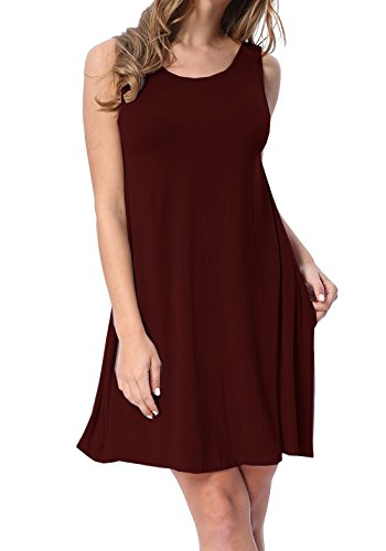 lymanchi Women Swing Dress with Pockets Loose Casual Sleeveless Tunic Mini Dress Wine Red XL
