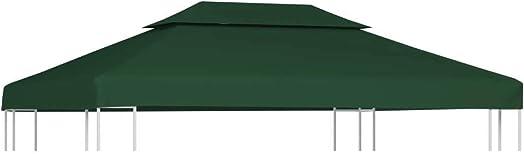 vidaXL Gazebo Canopy Top 10'x13' Green Replacement Cover 2 Tier Outdoor Garden