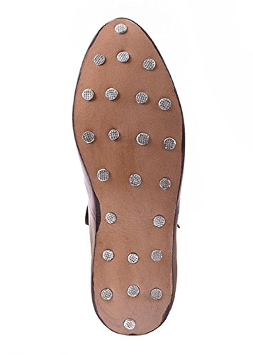 pelle Medioevo lacci in GRV Vichingo Marrone Medievale scarpe con altezza Scarpe mezza qBxafnwUH4