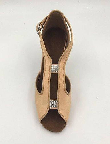 ShangYi Chaussures de danse(Autre) -Personnalisables-Talon Paillette Aiguille-Satin / Paillette -Personnalisables-Talon Brillante-Latine almond 42a137