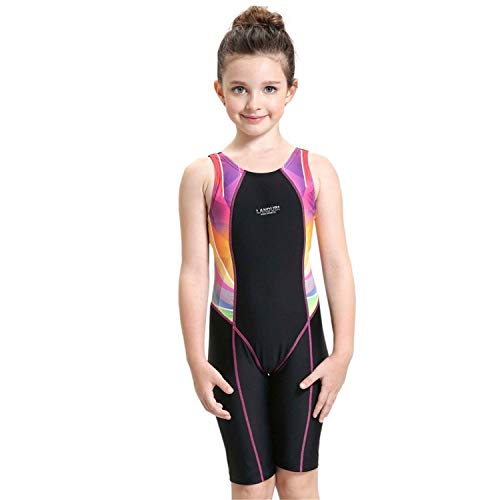 Peacoco Girls' Solid Splice Athletic One-Piece Swimsuits Racerback Competive Legsuit For 6-8 years ()