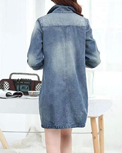 Size Del Giacca Tagliare Plus Blu Delle Allentata Foro Denim Tasca Donne Cappotto fit Xinheo RxqRwBaY