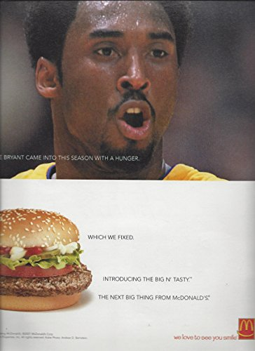 Print Ad** With Kobe Bryant For 2000 McDonalds Big N Tasty Hamburger