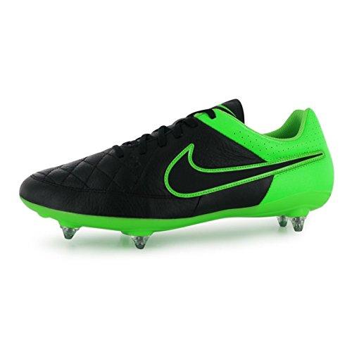 Nike Mens Tiempo Genio SG Soft Ground Botas de fútbol para hombre Blk/GRN Zapatillas de fútbol, negro, (UK9) (EU44) (US10)