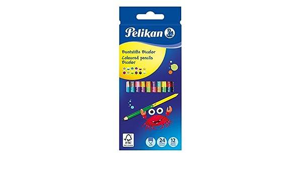 Pelikan - Lápices bicolores 12 piezas 24 colores, multicolor