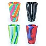 SILIPINT Unbreakable Silicone pint Glasses (Set Of 4), Variety Tie Dyed, 16 oz