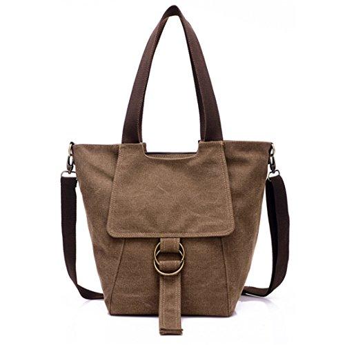 Wewod Mujeres Vendimia Bag Bolsos bandolera Mutil Function Bag Crossbody Bag Tote Carteras de mano Lona Bolso de Hombro Shopper Totes Bolsa Bolso de Escuela Bolsa de Viaje (Beige) Marrón