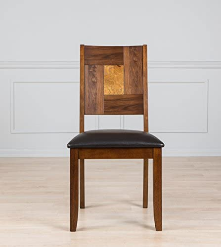 AW Furniture Solid Hardwood Square Back Brown Dining Chair Set of 2